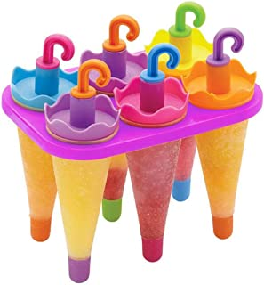 4 Slots Umbrella Shape Ice Cream Maker Mold,Ice Cream Popsicle Mold Colorful Ice Cream Maker Kitchen Gadget,Multi