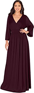 Womens Long Kimono Sleeve V-Neck Wrap Belted Empire Flowy Maxi Dress