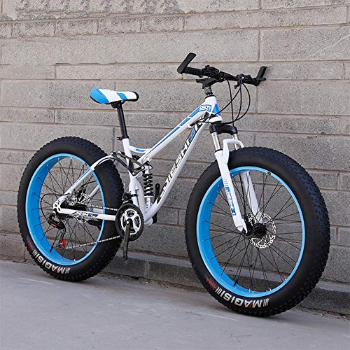RNNTK Double Shock Absorption Fat Bike Mountain Bike, Big Tires Adult Outroad Mountain Bike Super Thick.Snowmobile,Bike A Variety of Colors Male and Female Students K -24 Speed -26 Inches