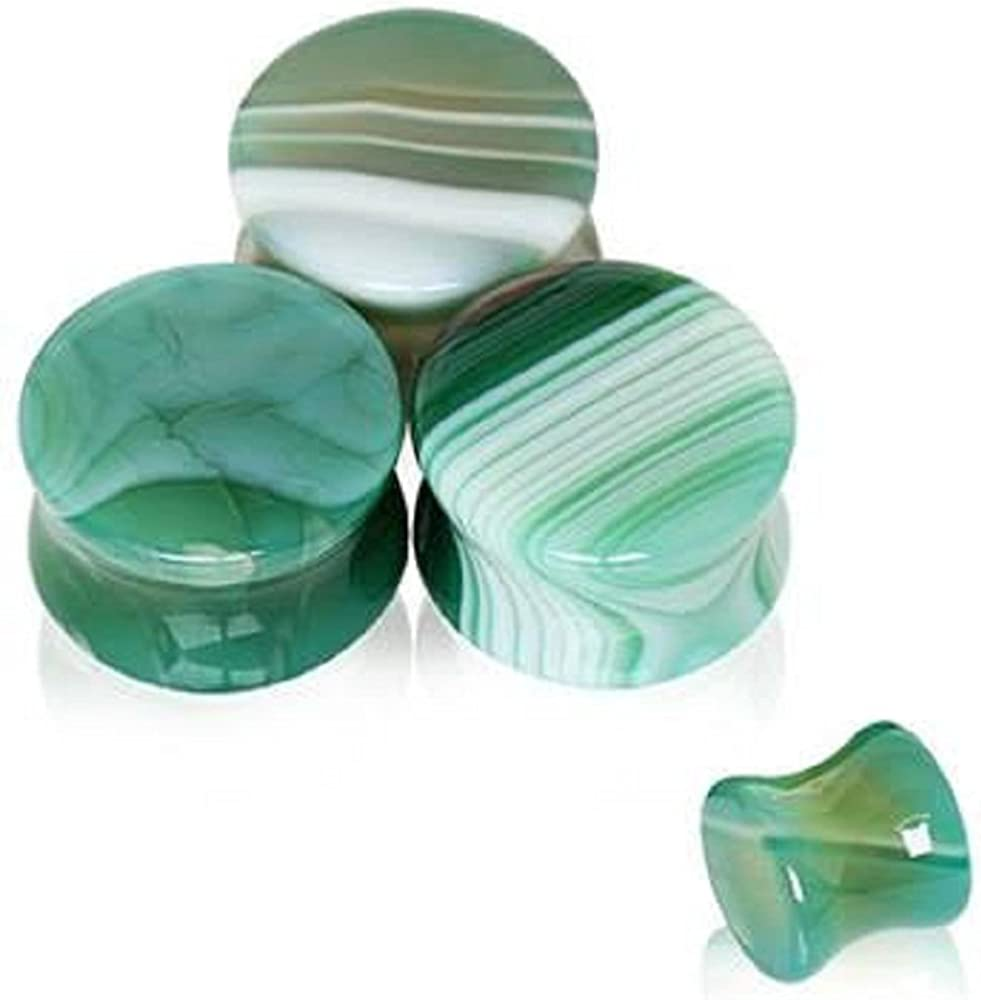 Natural Green Agate Sales Stone Saddle Plug WildKlass gift