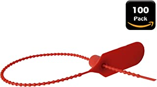 100 Pack - Metalwaware Solutions - Red Pull Zip Tie Cable Tamper Security Safety Seal Fastener - Fire Extinguisher