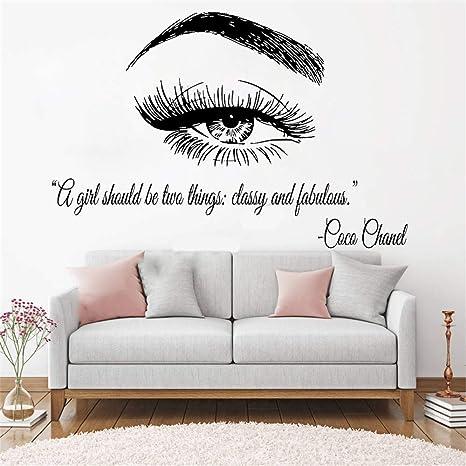 g1265 Vinyl Wall Decal Phrase Eyelashes Beauty Salon Crown Makeup Stickers