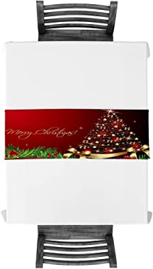 Cloud Dream Home Cotton Linen Table Runner Merry Xmas Table Setting Decor Christmas Tree, Green Red for Garden Wedding Partie