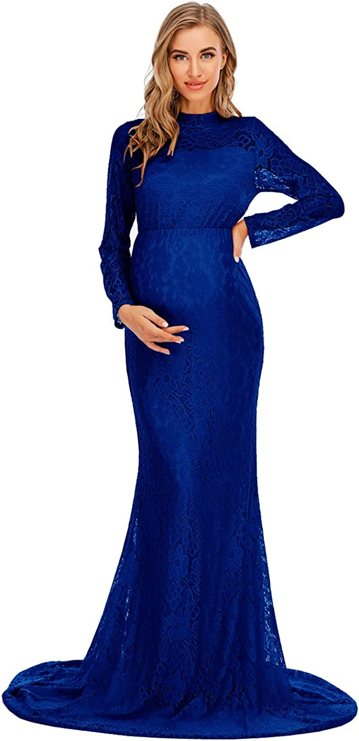 ZIUMUDY Elegant High Neck Lace Long Sleeve Maternity Gown for Photo Shoot Maxi Mermaid Baby Shower Dress