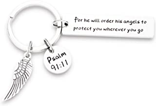 Bible Verse Keychain for He Will Order His Angels to Protect You Scripture Keychain Religious Gifts