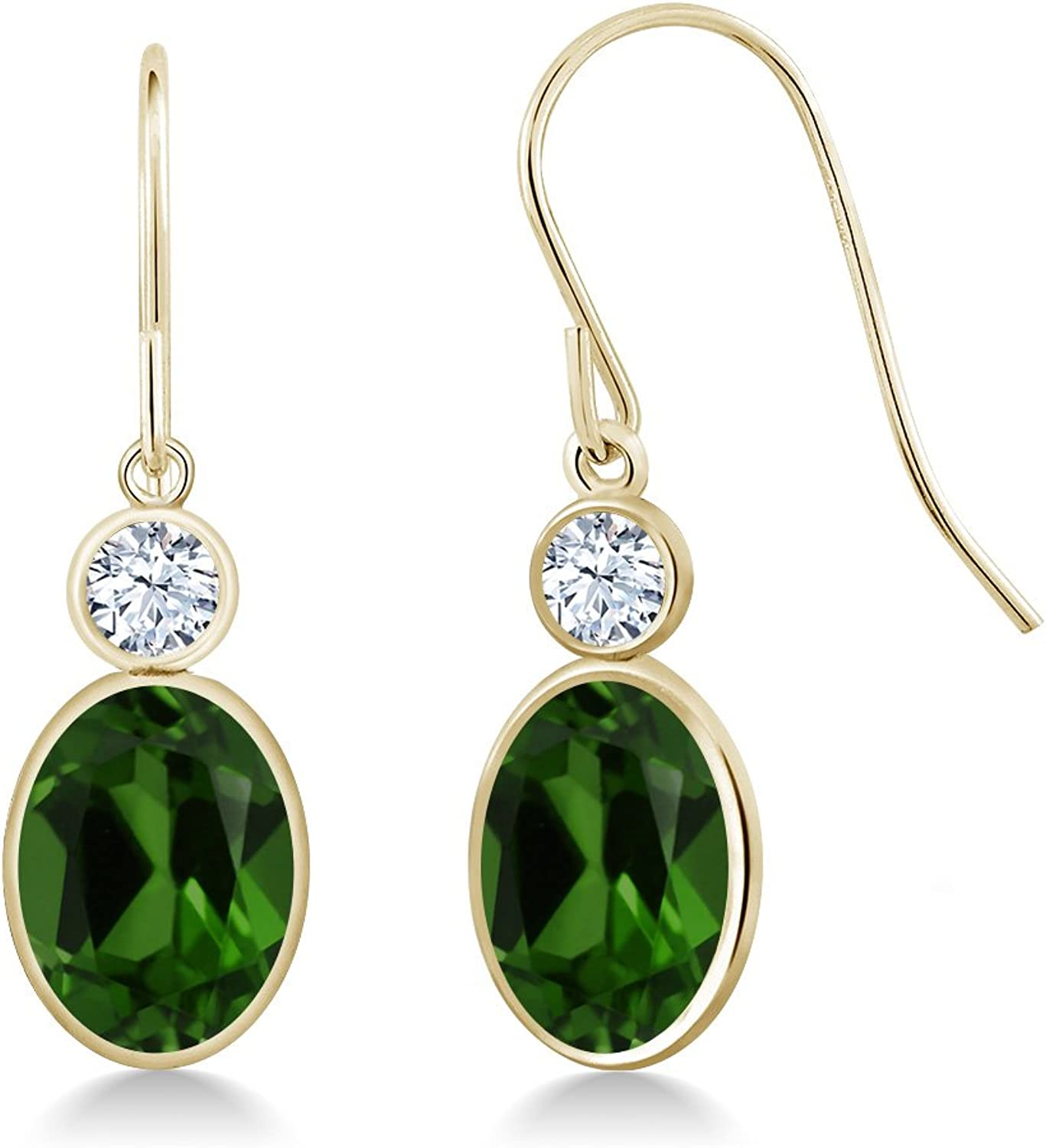 2.66 Ct Green Chrome Diopside White Created Sapphire 14K Yellow gold Earrings