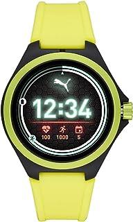 PUMA Sport - Smartwatch da uomo con frequenza cardiaca da 44 mm, touchscreen leggero con fascia in silicone giallo neon - ...
