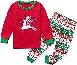 Jeash Christmas Children Kids Cartoon Deer Printed Casual Top+Pants Xmas Family Clothes Pajamas, Christmas Boys and Girls Sleepwears Sets