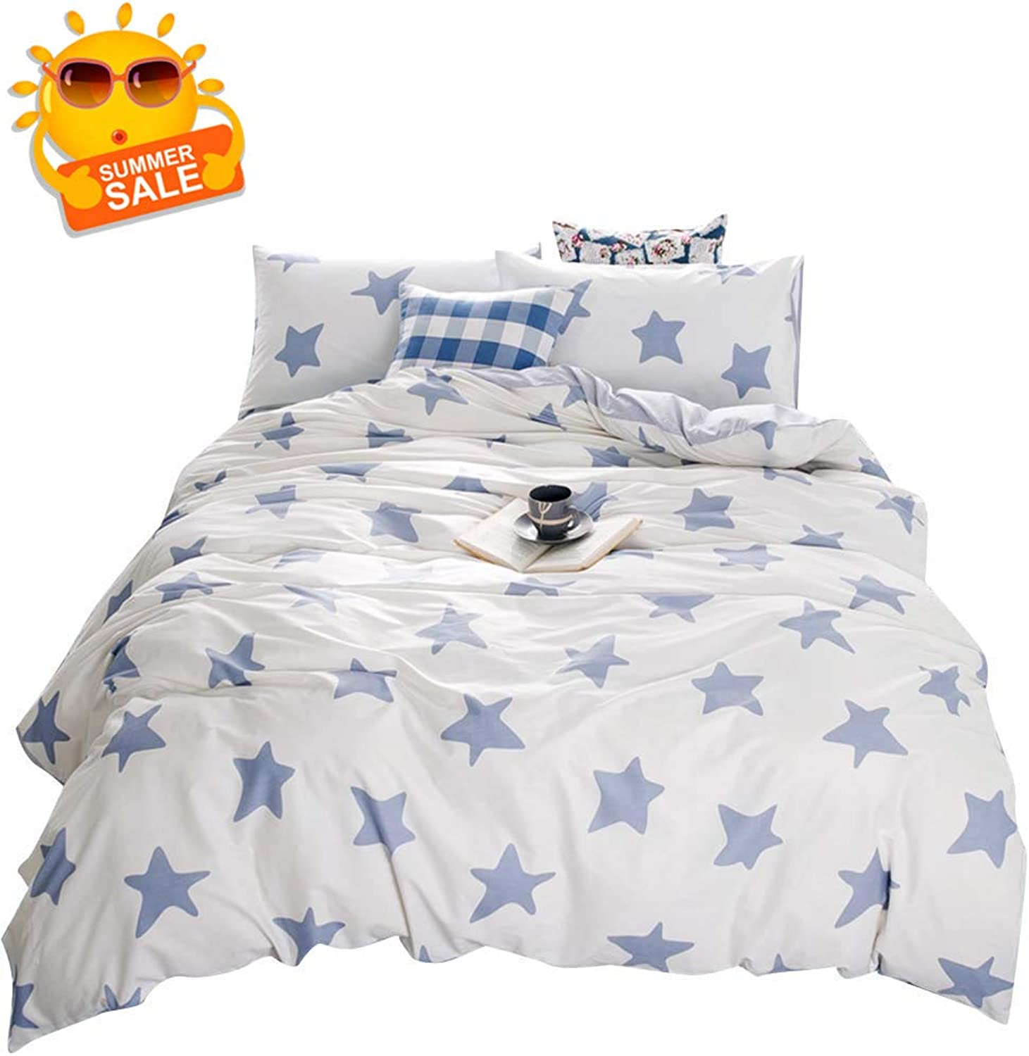BuLuTu bluee Stars Queen Duvet Cover Cotton White,Soft 3 Pieces Duvet Cover Set for Kids Adults,Cute Decorative Bedding Sets Full Size,Zipper Closure,No Comforter