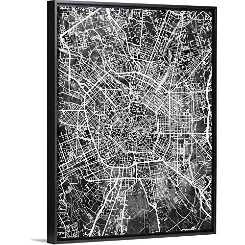 "Milan Italy City Map Black Floating Frame Canvas Art, 38""x50""x1.75"""