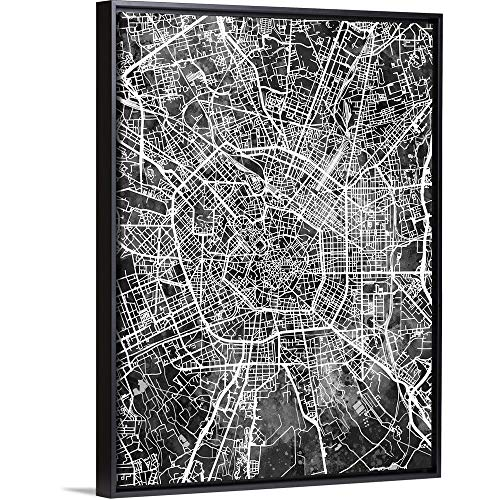 "Milan Italy City Map Black Floating Frame Canvas Art, 38""x50""x1.75"""