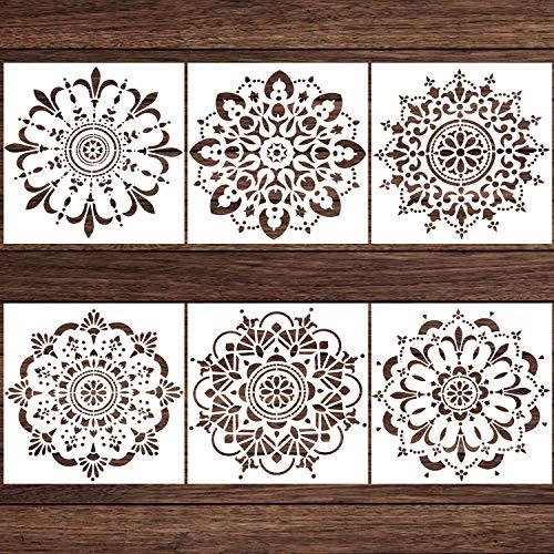LOCOLO Mandala Stencils Set of 6 (12 x 12 inch) Reusable Stencil Laser Cut Painting Template Wood Floors Wall Fabric Furniture Stencils