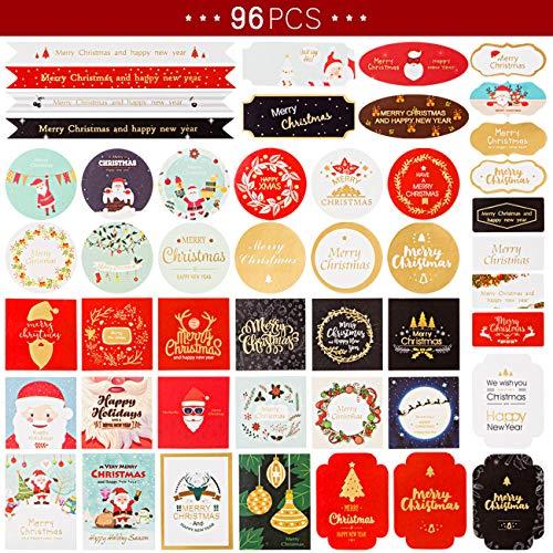 Kesote 96 Piezas Etiquetas de Sellado Navidad Pegatinas Decorativas Regalos para Bolsas, Cajas, Tarjetas de Felicitación Navideñas