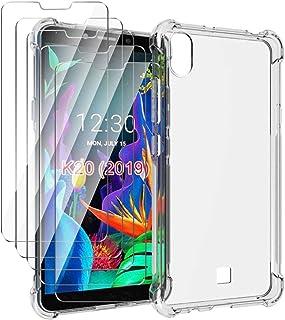HYMY fodral + 5 x skärmskydd för LG K20 2019 Smartphone - Transparent Clear TPU Mjuk Silikon Protection Four-corner Reinfo...
