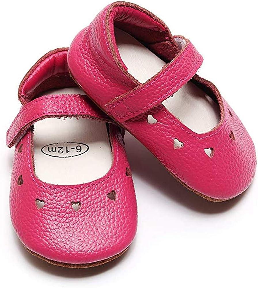 Bebila Baby Girls Hollow Love Heart Sandals Mary Jane Flat Princess Dress Crib Shoes