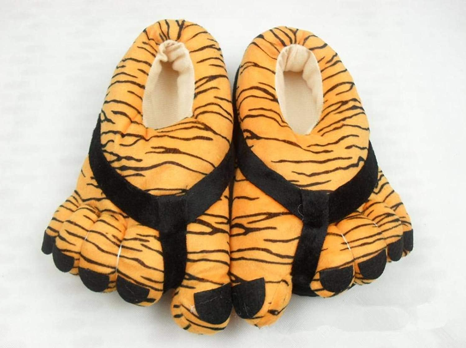 JaHGDU Ms Creative Home Slippers Leopard Tiger Paws Cartoon Doot Flip Flop Patten Personality Keep Warm in Winter and Autumn Cotton Slippers