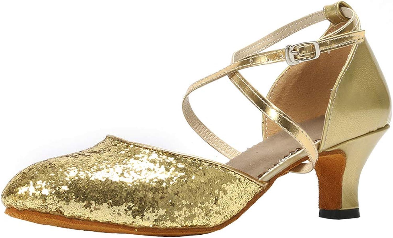 Cygnus Women Dance shoes Latin Salsa Tango Practice Ballroom Dance shoes with 2  Heel Suede sole 118