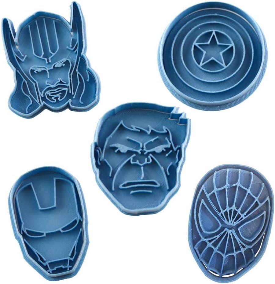 Cuticuter Superheroes Marvel Pack Cortador de Galletas, Azul, 16x14x1.5 cm, 5 Unidades
