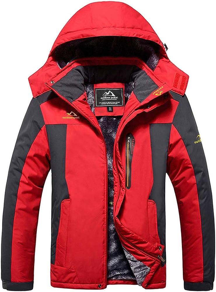 MAGCOMSEN Mens Winter Coats Waterproof Ski Jacket Fleece Lined Windproof Warm Snow Jacket With Hood 4 Pockets