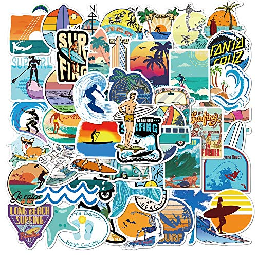 HENJIA Summer Surfing Sticker Beach Travel Graffiti Surf Stickers Diy For Surfboard Laptop Luggage Bicycle Tablet Water Bottle 50 Pcs
