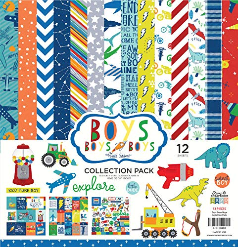 Keep It Simple Boys Collection Pack, Double Sided Scrapbook Paper, 12 Sheets, 12-x-12-Inch, Multicolor, Red, Blue, Yellow, Orange, Masculine Paper