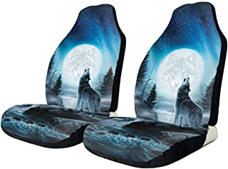 CHILL·TEK Car Seat Covers, Wolf Moon Art Universal Fit Full Set Seat Covers for Car - 2 Piece Set Compatible for SUV Van Truck - Easy Installation