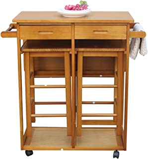 3pcs Dining Table Set with 2 Pub Stools, Mobile Kitchen Island Table with Drop Leaf Small Wooden Square Breakfast Bar Cart Trolley with Chairs and Drawers - Brown