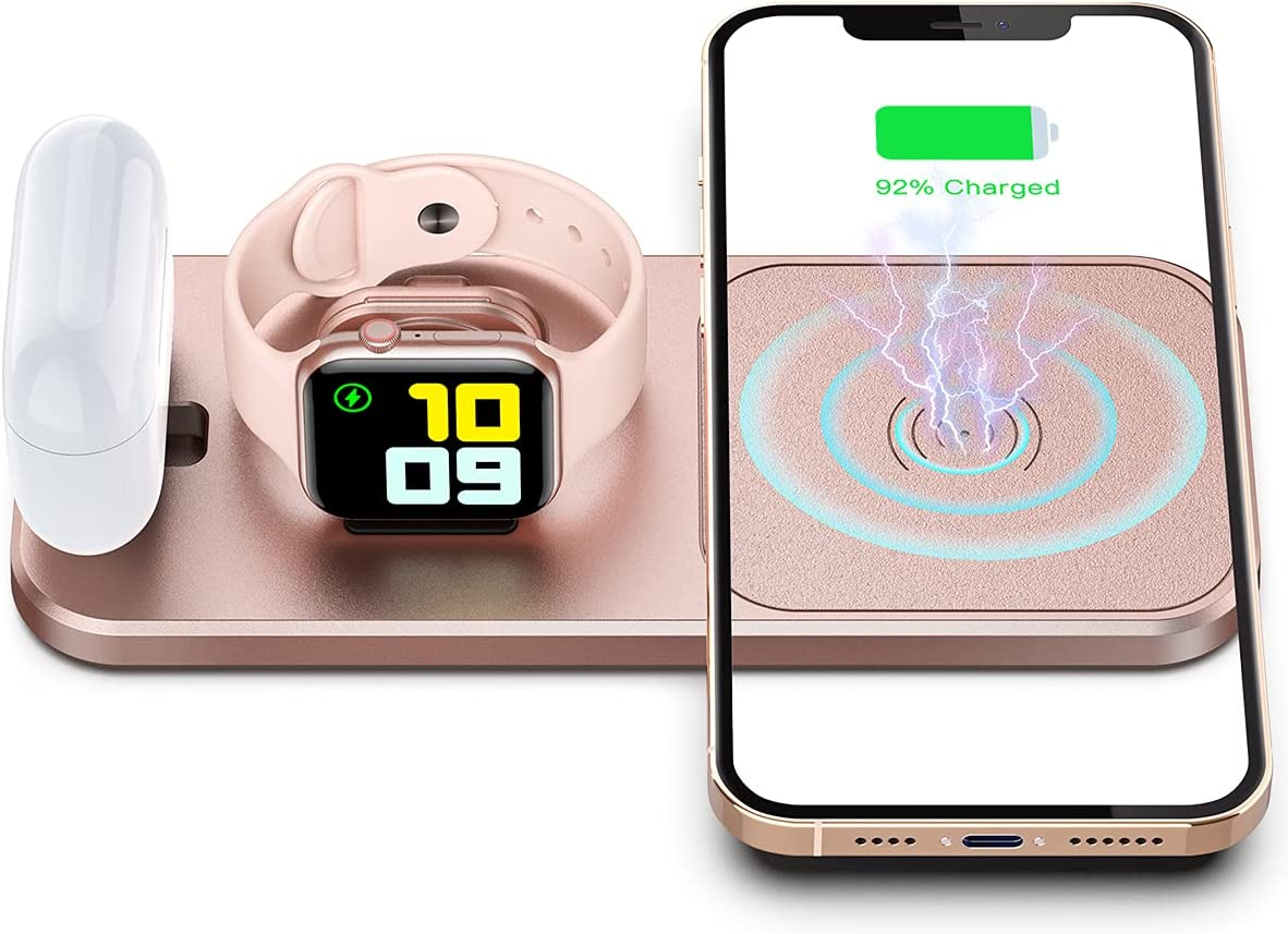 OLISSA Portable Wireless Charger for Apple Devices, 3 in 1 Foldable Charging Station for Apple Watch SE/6/5/4/3/2/1 Charger Stand Dock for AirPoods Pro/2/1 Fast Wireless Charging Pad for iPhone Gold