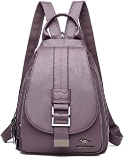 Backpack,New Women Belt Casual Backpack Soft Genuine Leather Backpack Fashion Kangaroo Print School Bags for Teenage Girls,Purple,MultipurposeDurable
