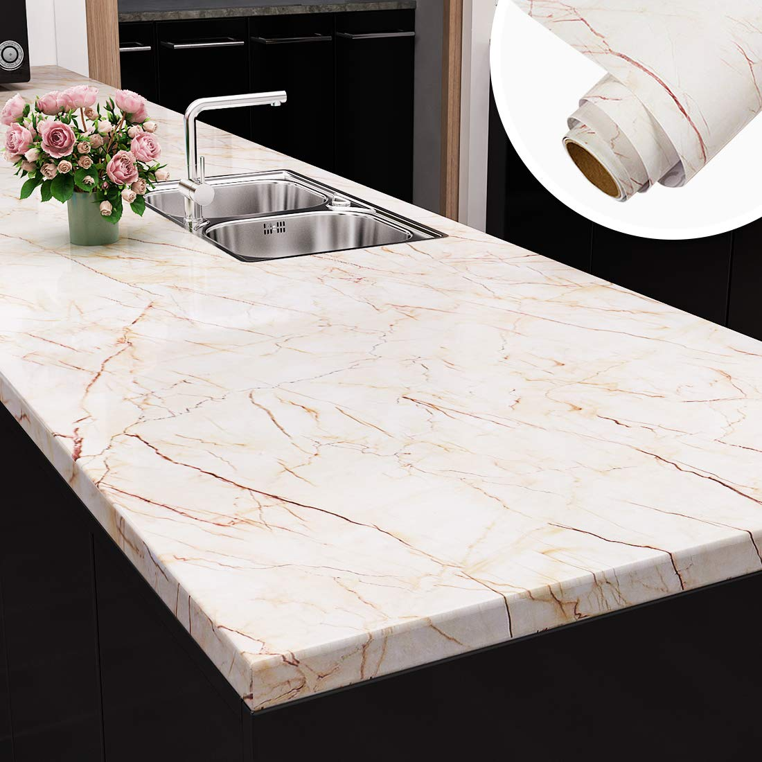 Yenhome Large Size Removable Marble Contact Paper For Countertops Peel And Stick Wallpaper For Kitchen Cabinets Bathroom Wall Decor Wallpaper Stick And Peel 24 X 118 Roll Amazon Com
