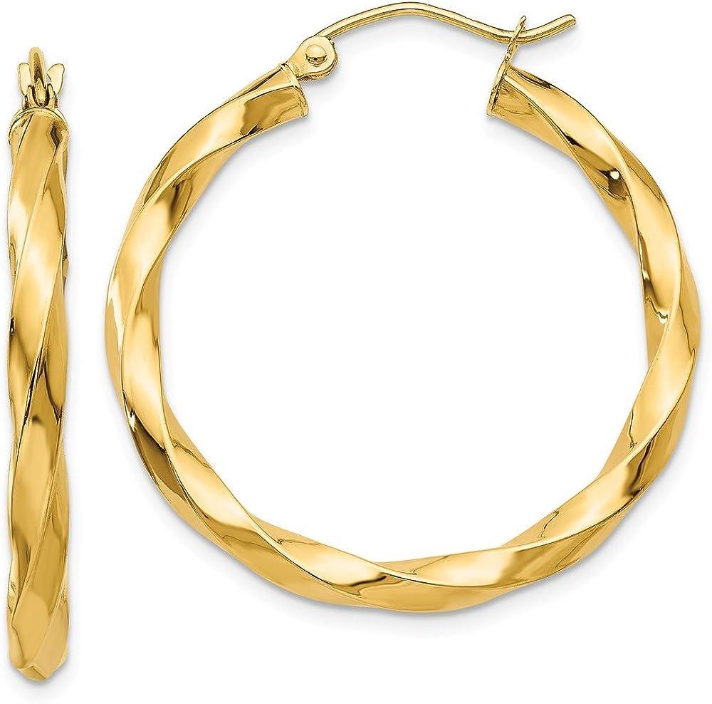 14k Yellow Gold 3mm Twisted Hoop Earrings Ear Hoops Set Fine Jewelry For Women Gifts For Her