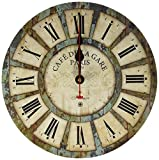 Eruner 12-inch Wooden Clock, Vintage Wood Wall Clock - [Cafe De La Gare] Retro Style France Paris London Country Non-Ticking Silent Wooden Wall Clock (#03)
