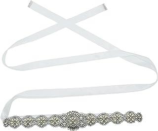 Lovful Bridal Crystal Rhinestone Braided Wedding Dress Sash Belt