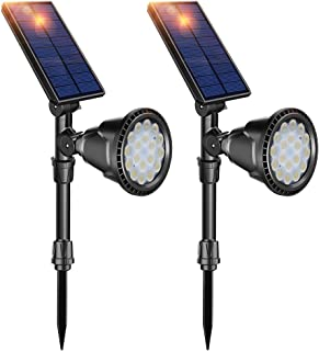 DBF Solar Lights Outdoor, Upgraded 18 LED Waterproof Solar Spotlights Solar Landscape Lights Auto On/Off Wall Security Lighting for Garden Yard Pathway Driveway Pool, Pack of 2 (Cool White)
