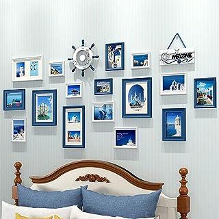 LONGWDS Marco de Fotos Combinación de Madera sólida de Fotos Pared del Marco mediterránea Europea Photo Marco Decorativo d...