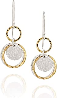 Stera Jewelry Delightful Multi Circle Two Tone Earrings 925 Sterling Silver & 14k Gold Filled