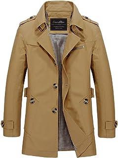 Sawadikaa Men's Single-Breasted Cotton Lightweight Jacket Windbreaker Wind Trench Coat Outdoor Jacket