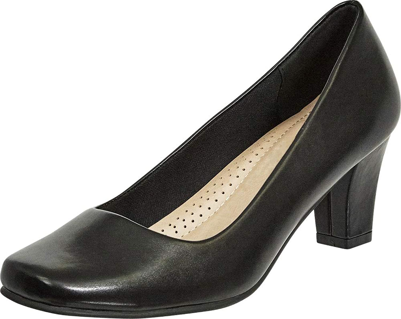Cambridge Select Women's Classic Square Toe Padded Comfort Chunky Mid Heel Pump