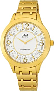 Q&Q Women's White Dial Stainless Steel Band Watch - F477-004Y