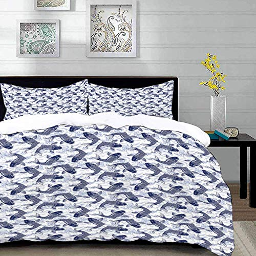 biancheria da letto - Set copripiumino, pesce, carpa giapponese Koi con motivo a onde sfondo Animali ancestrali cultura asiatica, blu scuro, copripiumino in microfibra set con 2 federe 50 x 75 cm