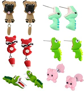 WWahuayuan 6 Pairs Crocodiles Earrings,Biting Ear Handcraft Polymer Clay Cute 3D Dinosaur Pig Shapi Dog Insects Animal Earrings-Chomper earrings,Piranha Earrings,Fox Fimo Studs