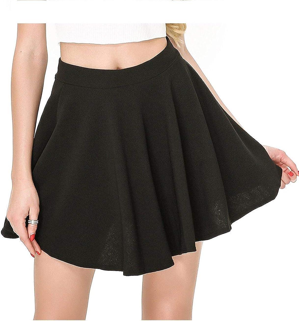 LIZMEMORY Women Casual Verstile Basic Flared Skater Mini High Waist Stretchy Skirt