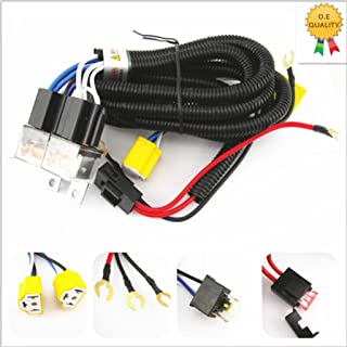 [ALL STAR TRUCK PARTS] 2-Headlight H4 Headlamp Light Bulb Ceramic Socket Plugs Relay Wiring Harness Kit