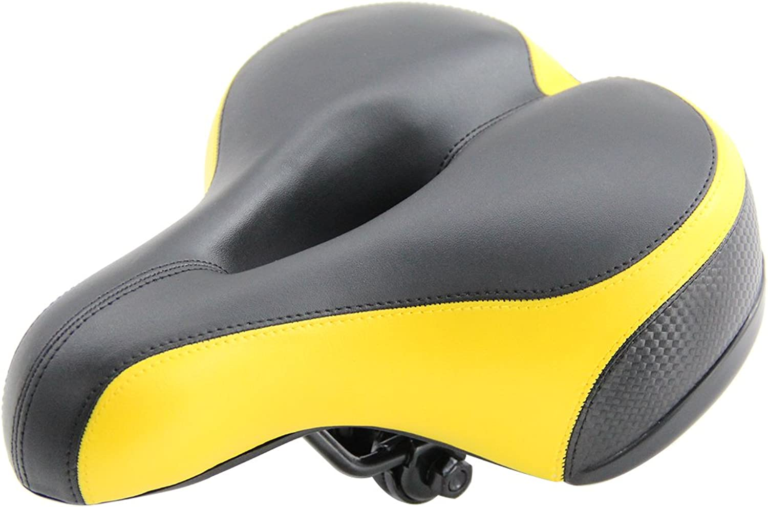 UNISTRENGH Comfortable Bike Seat for Men and Women  Oversize Bicycle Saddle with Safety Reflective Tape Soft Cushion Fit for Mountain Bike, Road Bicycle, Hybrid, Cruiser and Stationary Exercise Bike