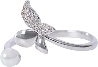 MOONSTONE Fashion Jewelry Ring for Women Elegant Butterfly Crystal Faux Pear, Adjustable Size