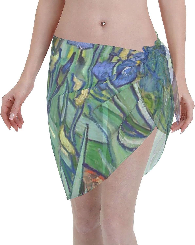 2053 pants Irises Floral Pattern Women Chiffon Beach Cover ups Beach Swimsuit Wrap Skirt wrap Bathing Suits for Women