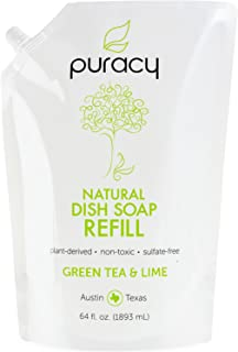 Puracy Dish Soap Refill, Green Tea & Lime, Sulfate-Free, Natural Liquid Detergent, 64 Ounce