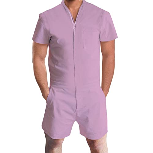 e08bcd2a302 RAISEVERN Mens 3D Pattern Printed Personalized Short Sleeve Summer Jumpsuit  Rompers Playsuit Bro One Piece Slim