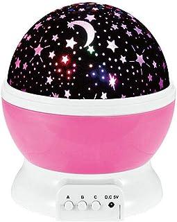مصباح ليد للأطفال مع جهاز العرض الليلي بالنجوم مع ضوء نجمة السماء الإسقاط الضوء الوردي