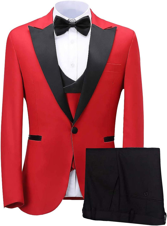 Wemaliyzd Men's Peak Lapel 3 Pieces Suit for Party Double Breasted Vest Pants